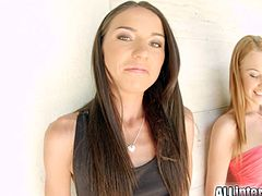 Lindsey Olsen and Nataly Gold are two sexy brunette teens and also best friends. Watch them taking turns sucking and riding a huge cock with their tight asses while also adding some lesbian pleasures to the mix.