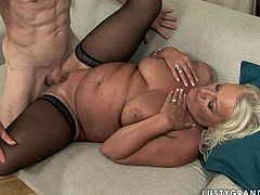 21 Sextury xxx clip gives you a chance to enjoy a really voracious bitchie old housewife. This nympho in black stockings spreads legs wide to be analfucked rough. Then busty and booty fatso provides old dick with a blowjob.