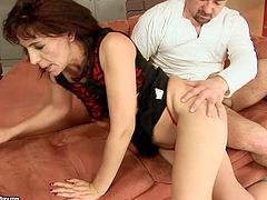 Sexy brunette gets her pussy fucked hard by one young dude. He pokes her pussy in all possible styles and makes her moan with pleasure.