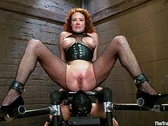 Redhead mom Audrey Hollander wearing a pantyhose is having fun with Owen Gray in a basement. She lets the man play with her cunt, then pleases him with a blowjob and takes a ride on his manhood.