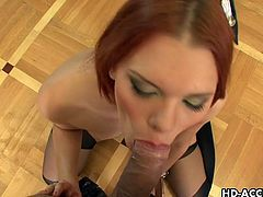Masha is a stunning Russian redhead with amazing blowjob skills. She takes it into her horny mouth and makes sure he is completely satisfied!