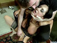 Bosomy brunette mom Ava Addams and James Deen are having some good time together. James binds Ava, rubs her pussy and then destroys her ass with his mighty rod.