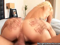 Sextractive blonde girl Monique Alexander rides big dick frantically. Then she lies on her back with her legs wide open. Pussy destroyer Alex Gonz hammered his dick deep in her vagina.