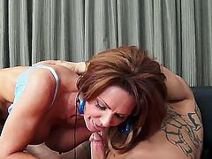 Horny mature hottie Deauxma loves to lick and kiss a long stiff cock before taking it deep in her muff