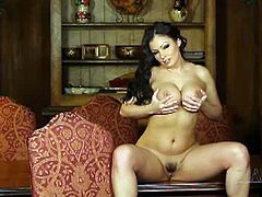 Watch the exquisitely beautiful brunette belle Aria Giovanni as she takes her sexy black lingerie off while assuming very naughty poses in this hot vid. Her ass and tits are out of this world!