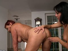 Red haired mature slut gets her pussy licked and ass hole rimmed by one lustful young brunette in doggy style position. Watch old+young lesbian sex video for free.