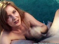 Check out this horny redheaded bitch having wild fun outdoors. She shows awesome handjob skills and jerks off his cock like a pro!