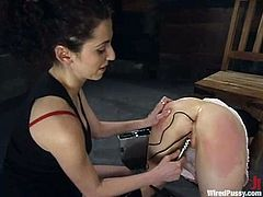 Cute chick Cherry gets bound by Princess Donna Dolore in a basement. Then Donna torments the girl and slams her nice pussy with a dildo.