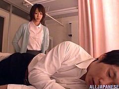 This smoking hot and super sexy Japanese teacher gets naked with her student at her place. She loved some passionate stud, sweating in between her legs.