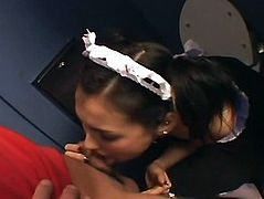 Hot waitress Maria Ozawa blows a cock uncensored.