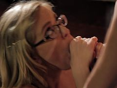 Kinky blonde with big natural tits gives blowjob before having her twat nailed hard