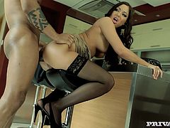 Smoking hot siren gets a big black cock in the office