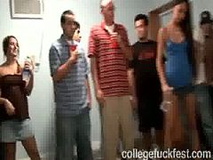 Drunk brunette rides dick and gets fucked in front of her college fellows. They enjoy watching her in action and like the way she gives blowjob.
