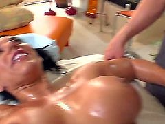 Black haired tempting Bella Reese with gigantic jaw dropping tits and round bouncing ass gives lusty blowjob to dirty masseur with hot body and screams while her bangs from behind.