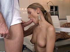 Salty looking blond wifey welcomes her beloved hubby wearing nothing but white panties. She kneels down in front of him to give him a steamy blowjob in peppering sex video by 21 Sextury.