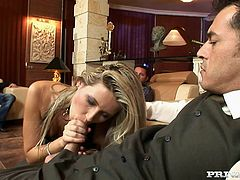 The blonde slut Cherry Jul is going to enjoy a sausage fest as she sucks and gets DP in a gangbang she thoroughly enjoys.