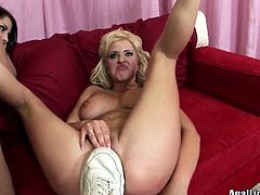 Pornstar threesome sex clip is surely worth your attention. Kinky brunette and sexy booty blondie are both great pros in licking balls, sucking a dick and giving a rimjob to please the lucky bastard.