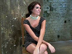 This petite brunette angel Cassandra Nix is being tortured. She gets bondaged and left on the floor. She is never gonna escape from bondage by herself!