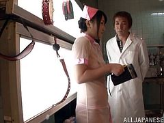 This naughty and horny chick Nana Usami is going to be pleased, as two docs are going to hold experiments on her pussy, having handcuffed her!