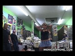 Several voyeurs enjoy watching hot tempered babe wearing fishnet stockings who hives best ever blowjob. She sucks dick of one fat ugly dude with pleasure. Enjoy dirty harlot for free.