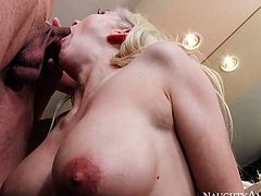 Pale skinned angel Christie Stevens sucks big dick of Tony Martinez in the bathroom