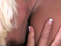 Two perverse blond matures hook up with a tasty looking blond MILF for steamy lesbian play. They stand one after another in doggy style tongue fucking each other's shaved cunts in sizzling hot threesome sex video by 21 Sextury.