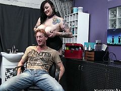 He has come to the barber shop to cut hair but he's got way more than this. Horny bitch with huge boobs reveals her junk letting him suckle her titties.