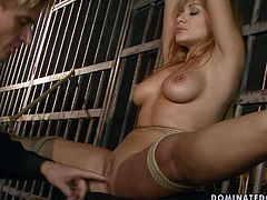 Hot blonde with big tits gets her pussy drilled hard in hot BDSM scene