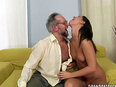 Astonishing brunette babe gets called up by aroused bearded daddy who turns her on by sucking her tits and stroking her vagina before he goes down to her shaved vagina to give a head.