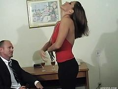 She doesn't need to much to take those clothes off and act like a whore. Sage is sexy and after a few glasses and a nice conversation she's slutty too! Check her out how she forgets about her man and gives this guy a lap dance before kneeling and sucking his cock.