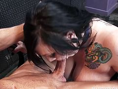 Dirty slut Scarlet gives a head in the barber shop to her client. She sucks small dick like lollipop. Then she gets on top of miserably small cock riding it actively.