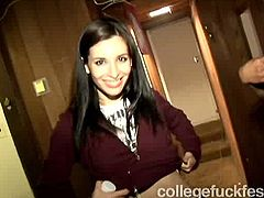 Every college crew has got such dirty slut that is ready to go dirty in public. This feisty college whore is one of those girls. So she takes off her top flashing small tits right in front of the whole crew. Then she goes down sucking cock deepthroat in public.