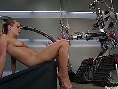 Blonde hottie Harmony is having some good time in a bathroom. She shows off her juicy vag and gets it drilled deep and hard by a fucking machine.