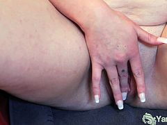Watch this chunky and naughty brunette slut using a dildo to make her cunt explode of pleasure while sitting on a chair.