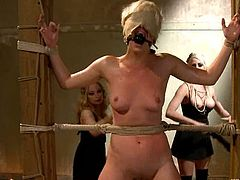 The action takes place in the locker room and this kinky cheerleader is being abused by three busty and hungry bitches! They used a lot of ropes and some toys too!