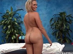 Awesome blonde stretches her gorgeous snatch with a cock