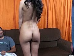 Impressively hot brunette Kourtney Kane strips to win a dick for blowjob