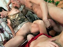 Skanky brunette doxy gets her moist vagina tongue fucked by young dude while her mouth is busy welcome face sitting from insatiable mature in threesome sex video by 21 Sextury.