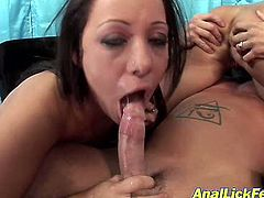 Two skanky brunette whores with worn out faces and slack bodies make out with a rapacious dude. They ride his sturdy penis with their gaped assholes in cowgirl styles before tongue fucking each other in threesome sex video by Pornstar.