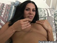 Veronica gets down on her knees and sucks on her man's cock. She rubs her boobs first to get him nice and hard, and then she gets on sucking. She even lets him slap his big cock onto her perky round boobs.