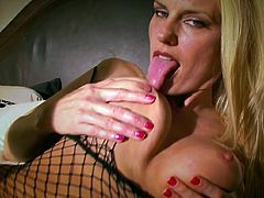 Slutty blonde with sexy pantyhose masturbates like crazy and enjoys full pleasure