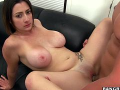 Watch this hottie end up with her face covered by a thick shot of cum in this hardcore video where she's fucked by a big cock after showing off her big natural breasts.