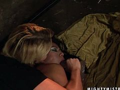 Slutty slim blondie ties up submissive brunette with ropes the way too tough. She grabs gal's neck and tits. Then booty spoiled lesbian smacks her ass and causes loud moans of pain and delight at once.