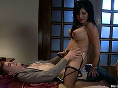 The naughty Sativa Rose is going to strapon fuck this guy in this pegging and femdom session packed with bondage and torturing action.