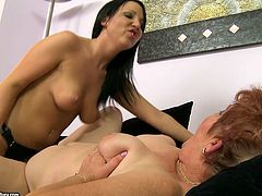 21 Sextury xxx clip provides you with a booty and busty young brunette. Wondrous chick wears strapon and polishes the wet dirty cunt of fat old bitch right on the couch.