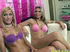 Blond haired svelte chicks get rid of bras and panties. Slim gals with nice tits kneel down to give a rimjob to a lucky dude right on the couch. Check out these hotties in Pornstar sex clip to jizz right away.