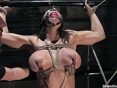 This super sexy and naughty babe Beverly Hills is being abused and fucked by her master James Dee. He ties her up on the bars and pokes her twat from upside down!