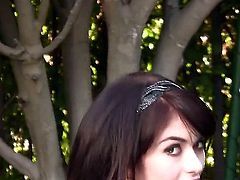 Turned on young brunette Ashlyn Rae with slim sexy body and natural boobies takes off short skirt while teasing and stuffs tight cunny with glass toy on golf court.