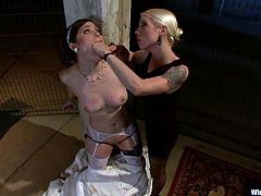 That's how this BDSM porn video starts with Charlotte Vale. All in wires. Lorelei Lee just pushes the button that drives some electrodes through her skin!