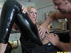 Horny blonde mom Valerye is having fun with some horny dude in the kitchen. They fondle each other and have oral sex and then bang on a chair and the kitchen counter.